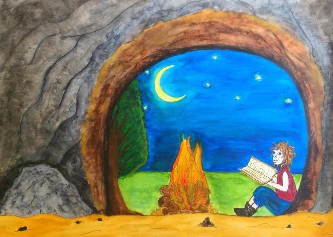 Enfant de la lune, lire sous les étoiled, illustration, illustration jeunesse, aquarelle, sennelier, peinture, hijo de la luna