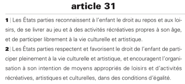 Article 31 convention internationale des droits de l'enfant